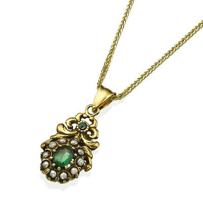 Antique vintage victorian 14k gold pendant and chain with pearls and emerald.