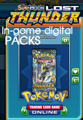 10x Pokemon TCG Online Lost Thunder LOT In Game Code Card Packs - PTCGO