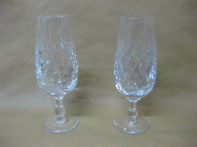2 Royal Doulton Crystal Champagne Flutes / Glasses ~ Georgian Cut ~ 6 1/2""