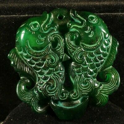 Chinese old natural jade hand-carved double fish statue pendant X3024
