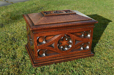Superb antique carved Gothic solid oak box strongbox English circa.1880