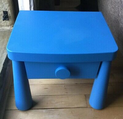 Ikea Mammut Childs Small Bedside Table With Drawer Blue Good Used Condition