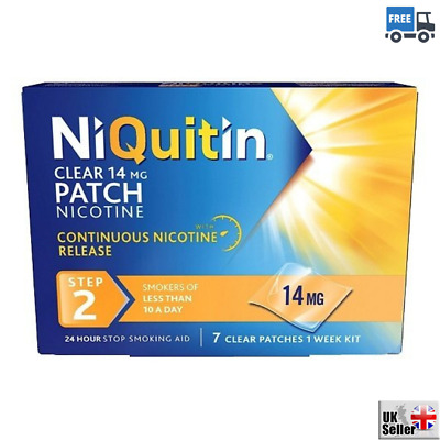 NiQuitin Clear 24 Hour 7 Patches Step 2 Stop Smoking Aid Reliever 14mg 1Week Kit