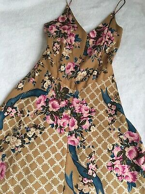 e510e2c6eb40 Vintage TRACY REESE Dress Floral 100% Silk Camel Sz 4 Anthropologie Lined  Brown
