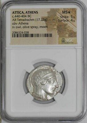 Athens Attica 440 BC Ancient Silver Greek Tetradrachm Owl NGC MS* 5/5 4/5