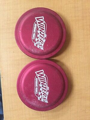 2 New Winters Wide Five Snap In Alum Dust Caps.  Red.