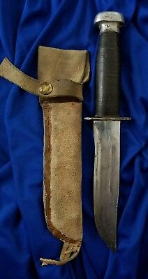 Wwii Era Rh 36 Pal Style Hunting Bowie Knife With Leather Sheath - Unmarked
