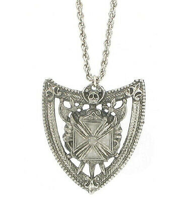Vintage Silver Tone Military Maltese Cross Large Pendant Necklace