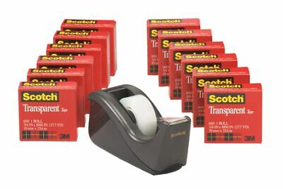 """Scotch® Transparent Tape With Dispenser, 3/4"""" x 1,000"""", Clear, Pack Of 12 Rolls"""