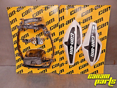 Can Am White Wind Deflector Hand Guard Kit w/ Mounting Kit Complete Wrap Around