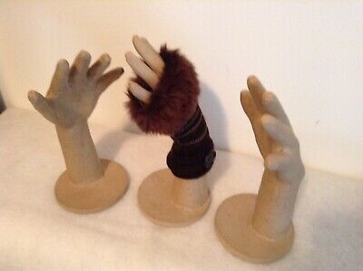 "Lot of 3 Paper Mache Display Hands w/base. 11"" x 5.5"""