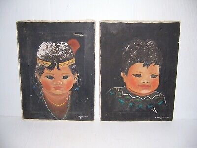 Vintage 1969 Native American Indian Child Boy & Girl Set of 2 Painting on Canvas