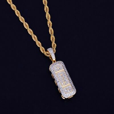 1185e7945adec MENS 14K GOLD GP Hip Hop Iced Out Xanax Pendant Bling Lab Diamond Chain  Necklace