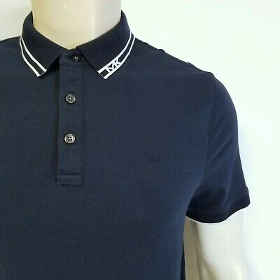 fb04b29d MICHAEL KORS $89 Navy Blue Polo Shirt White Tipped Collar w/ MK Logo Mens M