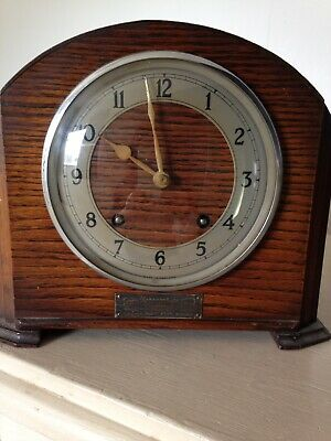 Vintage Wooden Mantle Clock with Key and Chimes