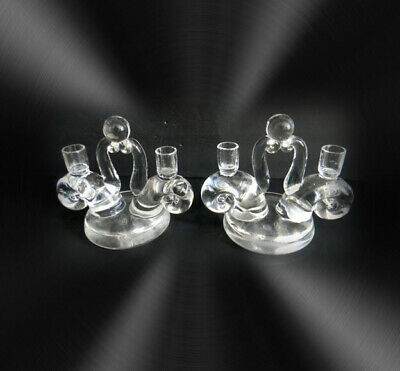 PAIR Steuben crystal candelabra candle holders snail and shell design - signed