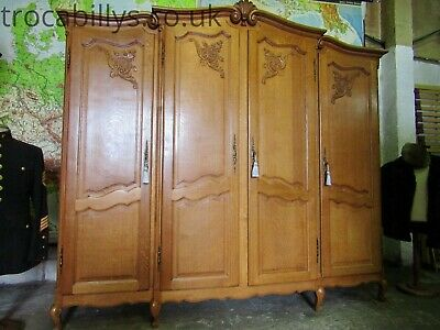 Superb vintage French carved golden oak Louis 4 door armoire,wardrobe,Flat pack
