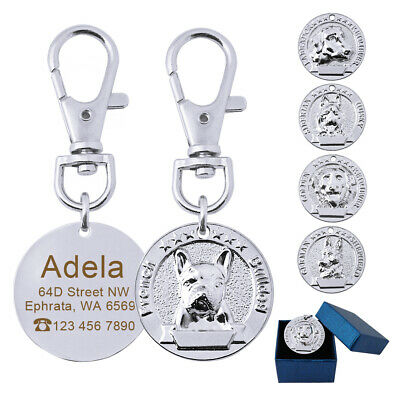 3D Dogs Head Statue Disc Engraved Personalized Dog Tag Stainless Steel Pet Tags