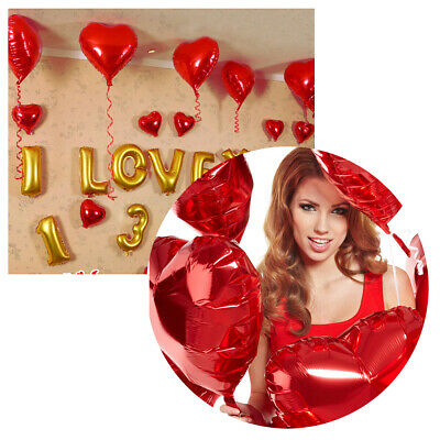 "10x RED 18"" HEART Shape Foil Helium BALLOON Valentine Wedding Engagement Love"