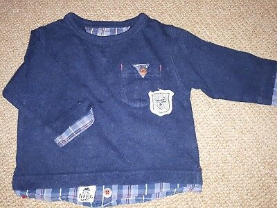 Fab Boys Next Navy  Long Sleeved Top, age 3 -6 months