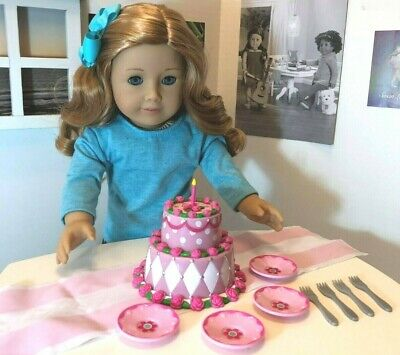 """American Girl Doll Sized Cake for 18"""" Dolls Dishes Kitchen Wedding Play Birthday"""