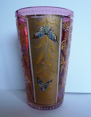 Moser style cranberry glass tumbler gilded decoration and enamelled butterflies