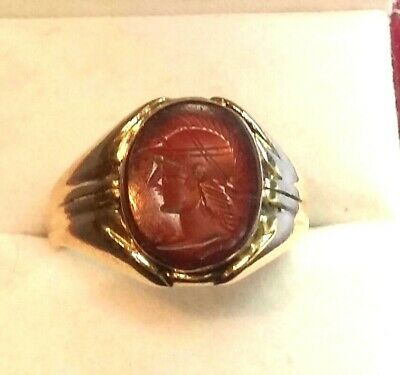 Vintage Handcrafted Roman Soldier's Profile Agate Cameo 14K Mens Ring Size 9