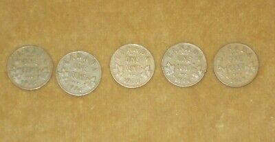 Lot Of 5 King George V Canada Penny Pennies 1928 1932 1934 1935 1936