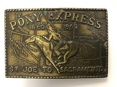 "Vintage Pony Express 1860-1861 ""ST JOE TO SACRAMENTO"" Solid Brass Belt Buckle"
