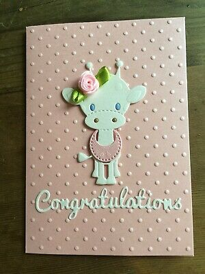 Handmade Embossed Baby Girl Just Born With Love 💗 Greeting Card
