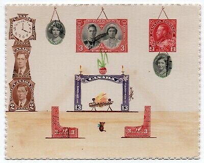 1939 FOLK ART Postage Stamp Picture COLLAGE Living Room Scene CLOCK Fireplace