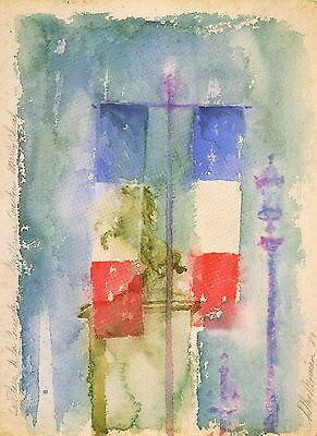 Leroy Neiman Book Plate Print Paris French Tricolor Flag On Street Bastille Day