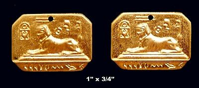 Vintage Brass Stamping / Sphinx w.Hieroglyphs  /Egyptian Revival / 1 pair.