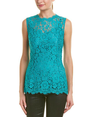 c7cbbcaf71018 NEW  1360 DOLCE   GABBANA Blouse Green Floral Lace T-shirt Top IT36 ...