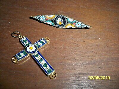 Vintage micro mosaic Glass Flowers Cross Pendant And Brooch - Italy