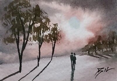 ACEO ATC original art miniature painting by Bill Lupton - Lovers on a Misty Day