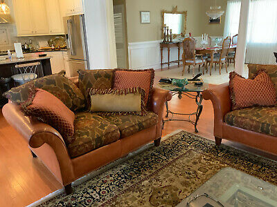 SOUTHWOOD LEATHER AND Fabric sofa set living room used. Great ...