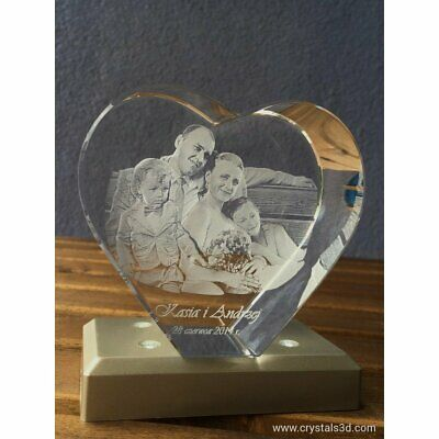 3D crystal heart - a personalised gift with 3D picture-2 faces - Gift for Family