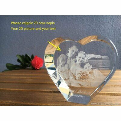 A 3D crystal heart - a personalised gift with 3D picture - 2 faces - occasion