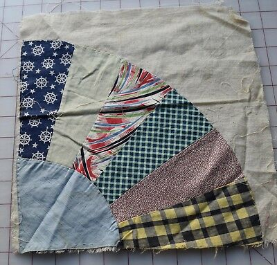 5837 1 1930-40's Fan quilt block, nice selection of prints
