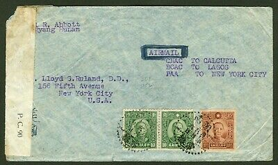 1943 Dr. Sys stamp cover china hunan-usa censor airmail