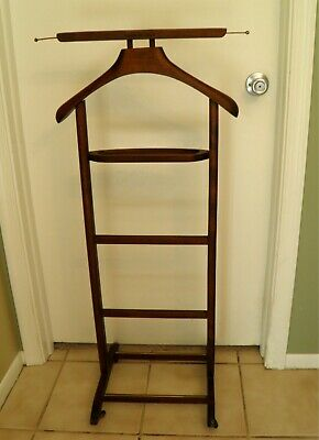 Vintage Mid-century Italian Wood Valet Silent Butler Suit Coat Stand with Tray