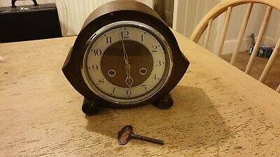 Smiths Art Deco Chiming Mantle Clock Working / Pendulum And Key