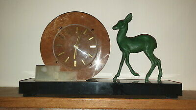 Large Art Deco Marble &  Spelter Fawn / Deer Mantle Clock