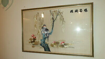 """Antique Framed Embroidered Chinese Lovebird On Silk 26"""" X 17"""""""