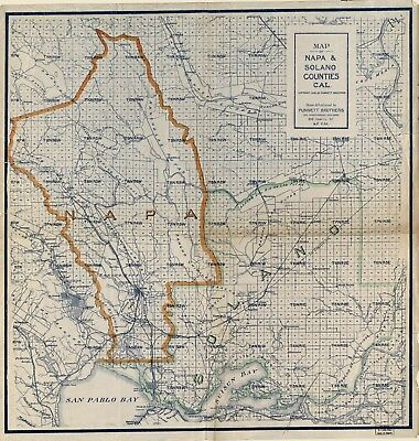A4 Reprint of American Cities Towns States Map Napa Solano California