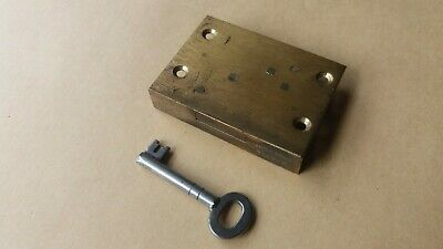 Antique Vintage Brass Jacksons 4 Lever Cabinet/cupboard Lock With Key