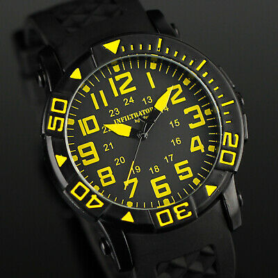 Infantry Infiltrator Mens Quartz Wrist Watch Military Army Sport Rubber Yellow