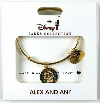 Disney Parks ALEX AND ANI Coco Sugar Skull Day of the Dead Gold Bracelet New