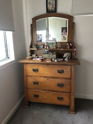 Vintage Antique Shabby Chic Deco OAK Dresser Dressing Table
